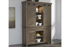 Rutherford Urban Living Dark Wood Storage Dining Buffet With Sliding Door Hutch