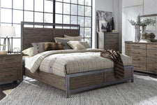 "Rutherford Queen Or King Industrial Style Panel Bed ""Create Your Own Bedroom"" Collection"