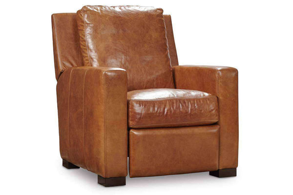 "Living Room Furniture Recliner Chairs Leather Samson Morris ""Quick Ship"" Contemporary Track Arm Leather Recliner"