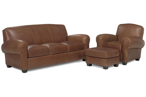 Sebastian Distressed Leather Tight Back 3 Piece Queen Sleeper Sofa Set