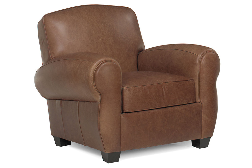 Picture of: Sebastian Distressed Leather Club Chair Cigar Style Rolled Arm Design Club Furniture