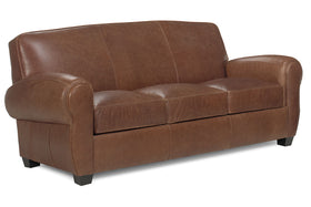 Sebastian 84 Inch Distressed Leather Club Style Couch With Bold Arms