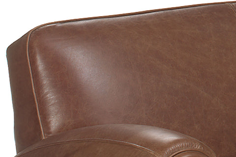 Sebastian Distressed Leather Tight Back Club Loveseat