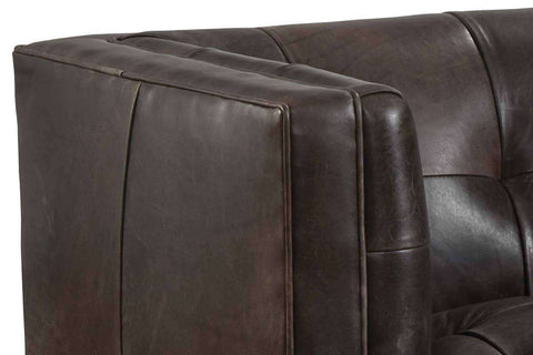 "Selwyn ""Quick Ship"" Tufted Leather Tight Seat And Tight Back Sofa - Club Furniture"