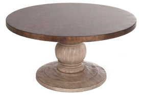 Sheridan Round Cocktail Table With Gray Pedestal Base And Hammered Copper Colored Metal Top