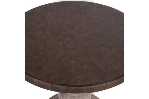 Sheridan Round End Table With Gray Pedestal Base And Hammered Copper Colored Metal Top