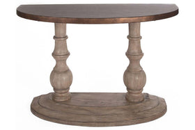 Sheridan Half Moon Sofa Table With Gray Pedestal Base And Hammered Copper Colored Metal Top