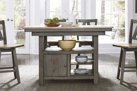 Silverton Rustic Farmhouse Gray With Sandstone Top 5 Piece Gathering Table Set With Swivel Chairs