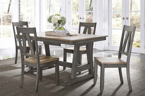 Silverton Rustic Farmhouse Gray With Sandstone Top 5 Piece Trestle Table Set