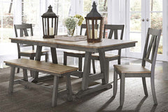 Silverton Rustic Farmhouse Gray With Sandstone Top 6 Piece Trestle Table Set With Bench