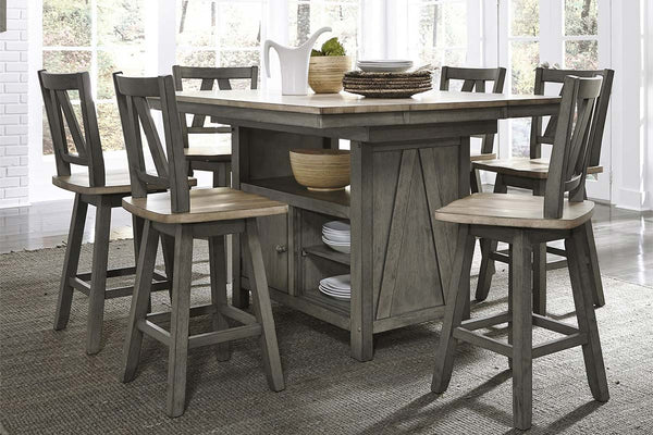 Silverton Rustic Farmhouse Gray With Sandstone Top 7 Piece Gathering Table Set With Swivel Chairs