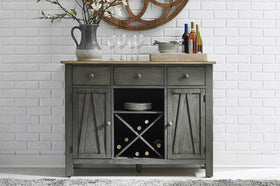 Silverton Rustic Farmhouse Gray With Sandstone Top Storage Buffet Server
