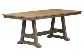 Silverton Rustic Farmhouse Gray With Sandstone Top 7 Piece Trestle Table Set
