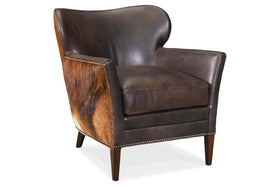"Simpson Dark Brindle ""Quick Ship"" Brown Hair On Hide Leather Accent Chair"