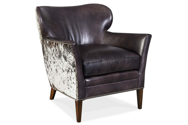 "Simpson Legendary Graphite ""Quick Ship"" Salt & Pepper Hair On Hide Leather Accent Chair"