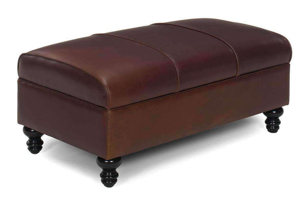 Ottomans & Benches Sinclair Leather Upholstered Coffee Table Ottoman With Storage Area