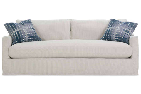 "Skyler I 82 Inch ""Designer Style"" Single Bench Cushion Fabric Slipcovered Sofa"