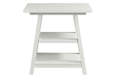Slater Oyster White Cottage Style Open Shelf Chair Side Table