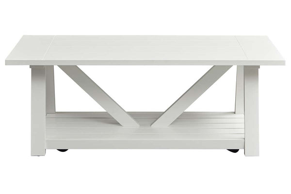 Slater Oyster White Cottage Style Open Shelf Cocktail Table