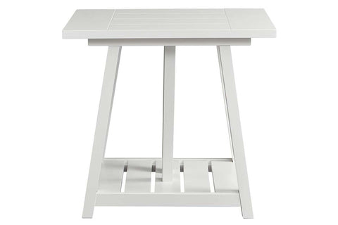 Slater Oyster White Cottage Style Open Shelf End Table