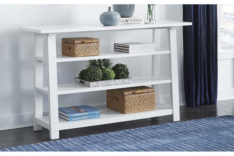 Slater Oyster White Cottage Style Open Shelf Sofa Table