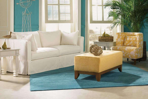 "Slipcovered Furniture Delilah ""Designer Style"" Fabric Single Bench Seat Slipcovered Queen Sleeper Sofa"