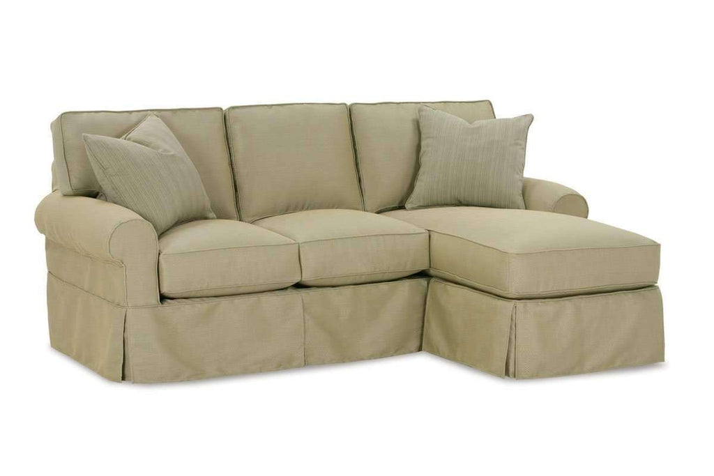 Christine Small Slipcovered Reversible Chaise Queen Sleeper Sectional Club Furniture