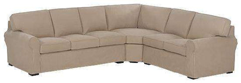 Slipcovered Sectional Sofa Lauren Fabric Three Piece Slipcovered Sectional Sofa (As Configured)