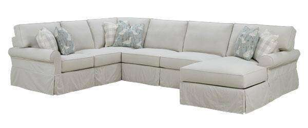 Noreen Designer Style Casual 3 Piece Deep Seat Slipcovered Sectional