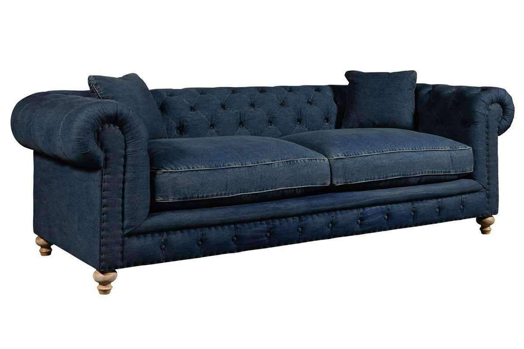Armstrong Quick Ship Denim Fabric Chesterfield Sofa Group Club Furniture