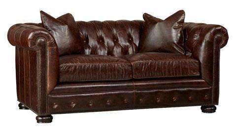 "Sofa Callahan ""Quick Ship"" Tufted Leather Chesterfield Loveseat"