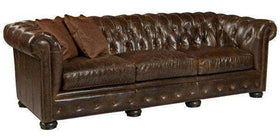 "Sofa Callahan ""Quick Ship"" Tufted Leather Chesterfield Sofa"