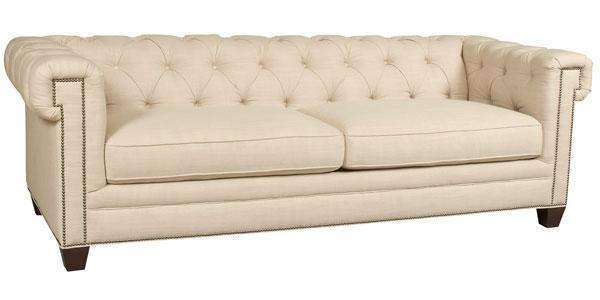 "Sofa Ellen ""Quick Ship"" Linen Chesterfield Style Sofa"
