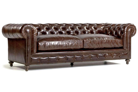 Sofa London Quick-Ship Leather Chesterfield Sofa