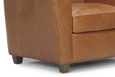 "Soho ""Designer Style"" Wing Arm Leather Club Chair"