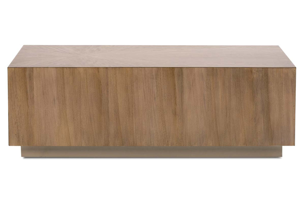 Picture of: Stockard Contemporary Rectangular Block Style Coffee Table With Pewter Finished Wood Base