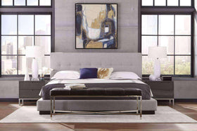 Stockbridge Queen or King Modern Fabric Blind Tufted Platform Bed