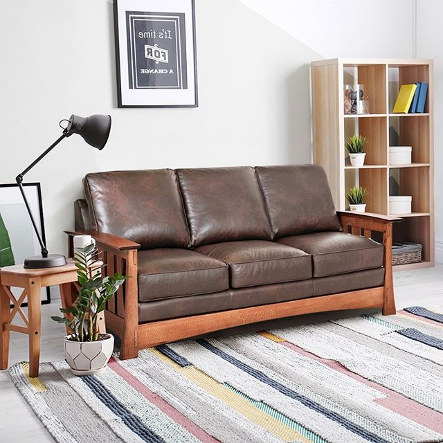 Terrific Stockton 83 Inch Leather Mission Queen Sleeper Sofa Pabps2019 Chair Design Images Pabps2019Com