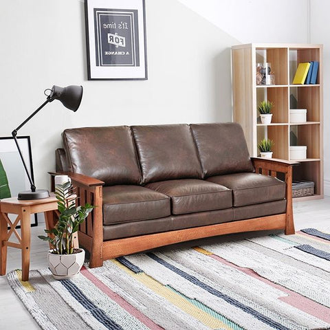 Stockton 83 Inch Leather Mission Style Pillow Back Sofa