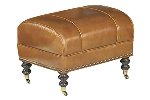 "Sullivan ""Designer Style"" Leather Ottoman w/ Decorative Antique Brass Nailhead Trim"