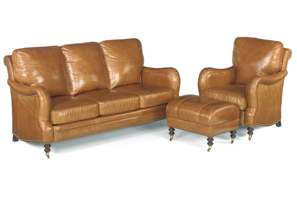 "Sullivan ""Designer Style"" Howard Reproduction Leather Three Seat Sofa Set w/ Decorative Antique Brass Nailhead Trim"