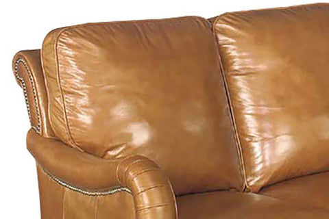 "Sullivan 76 Inch ""Designer Style"" Leather Sofa w/ Decorative Antique Brass Nailhead Trim"