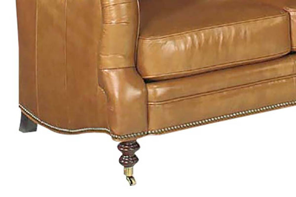 "Sullivan ""Designer Style"" Leather Loveseat w/ Decorative Antique Brass Nailhead Trim"