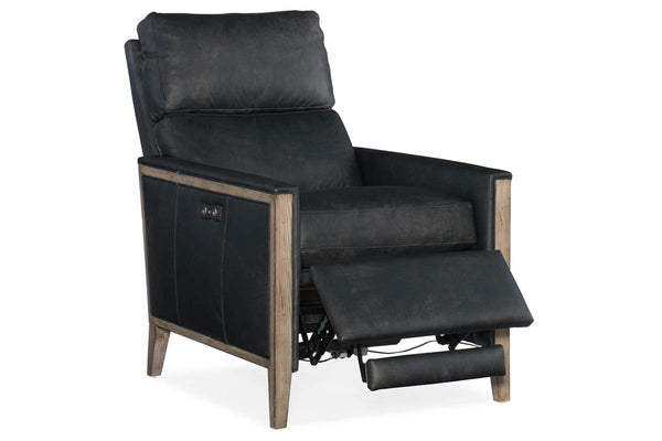 "Sutter Power ""Quick Ship"" Mid-Century Modern Leather Exposed Wood Recliner"