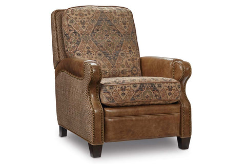 "Tennyson ""Quick Ship"" Classic Leather/Fabric Recliner"