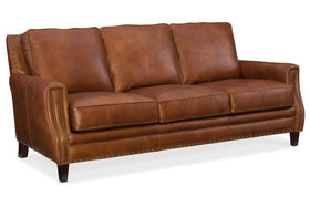"Living Room Furniture Sofas Leather Thaddeus ""Quick Ship"" Traditional Top Grain Leather Pillow Back Sofa"