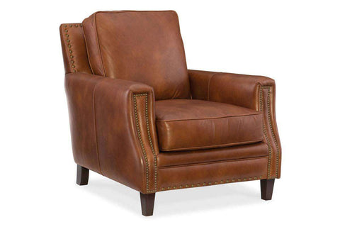 "Thaddeus ""Quick Ship"" Traditional Top Grain Leather Pillow Back Chair"