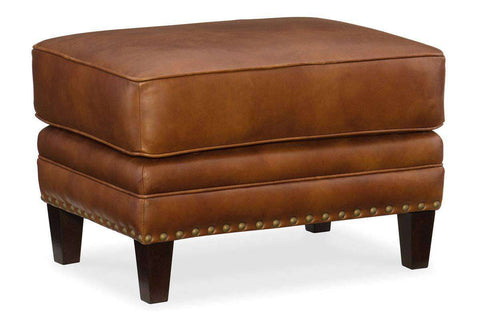 "Thaddeus ""Quick Ship"" Traditional Top Grain Leather Pillow Top Ottoman"