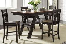 Thayer Contemporary 5 Piece Light And Dark Espresso Gathering Pedestal Table Dining Set With Splat Back Side Chairs
