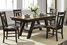 Thayer Contemporary 5 Piece Light And Dark Espresso Pedestal Table Dining Set With Splat Back Side Chairs